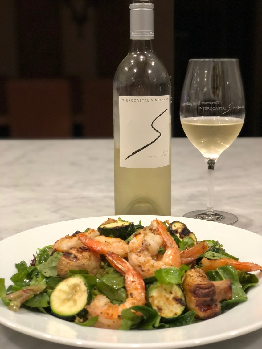 2018 Chenin Blanc with Shrimp Salad at Intercoastal Vineyards